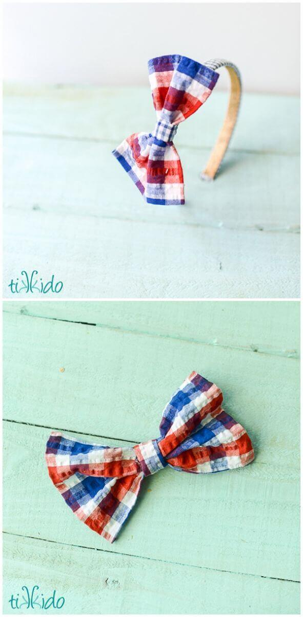No sew preppy nautical bow hair accessories.