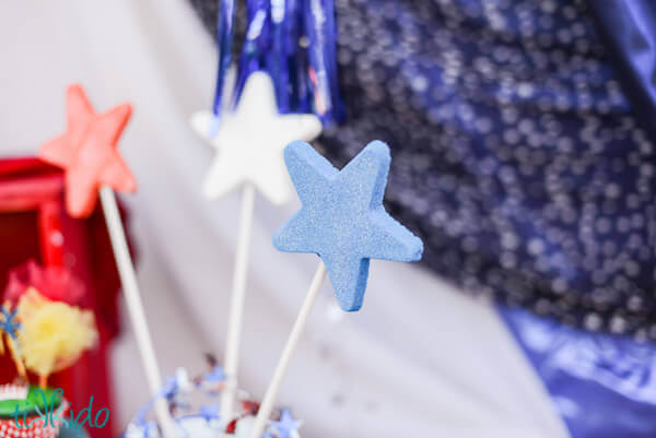 red white and blue star lollipop