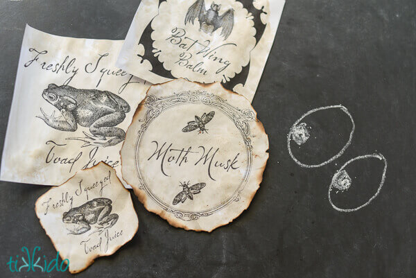 Free printable Halloween potion bottle labels aged with tea staining
