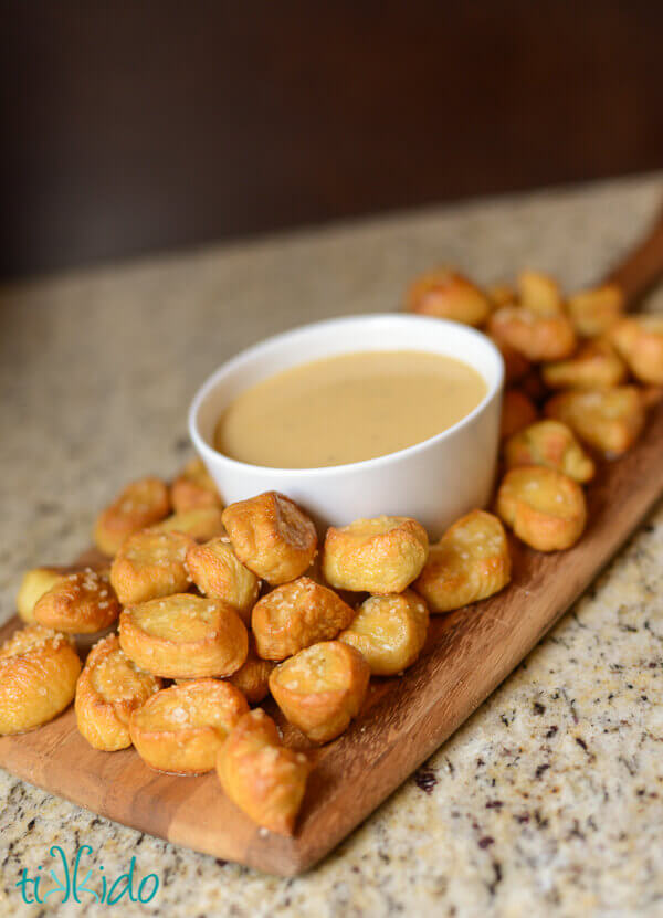 Beer and Cheddar cheese dipping sauce with pretzels