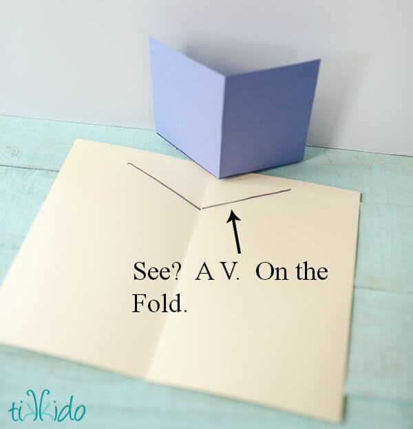 Easy To Make Pop Up Cards Part - 18: Line Up The Fold Of Your Pop Up Piece With The Fold Of The Base Card.  Figure Out Where You Want To Glue Down The Pop Up, And Trace Lightly With A  ...
