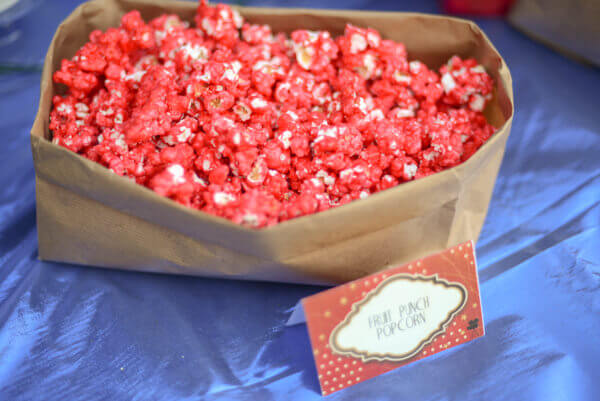 Fruit Punch popcorn made with kool Aid