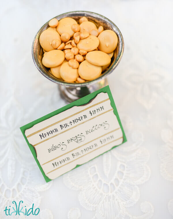 Bilbo's brass buttons candies made from royal icing at the Hobbit birthday party.