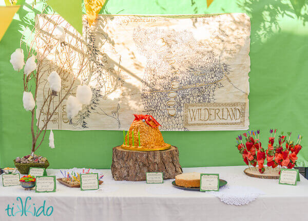 Lord of the Rings birthday party dessert table