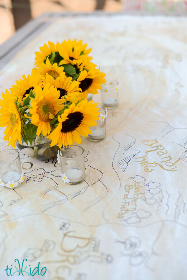 Paper table runner that looks like a map of middle earth at the Lord of the Rings birthday