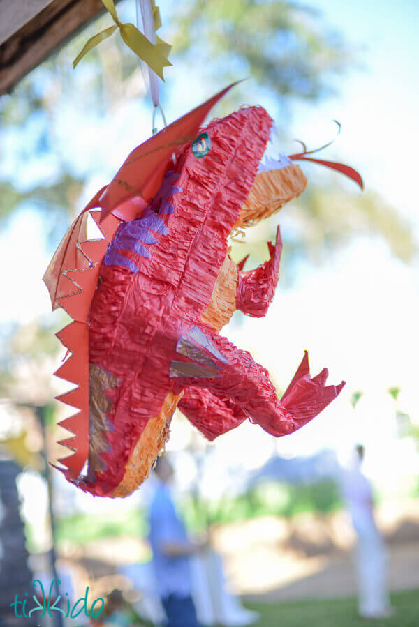 Smaug the dragon piñata hanging at the Hobbit birthday party.
