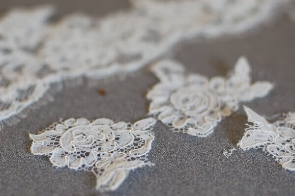 Alencon lace pieces cut and ready to put on the Wedding Veil Christmas Ornament