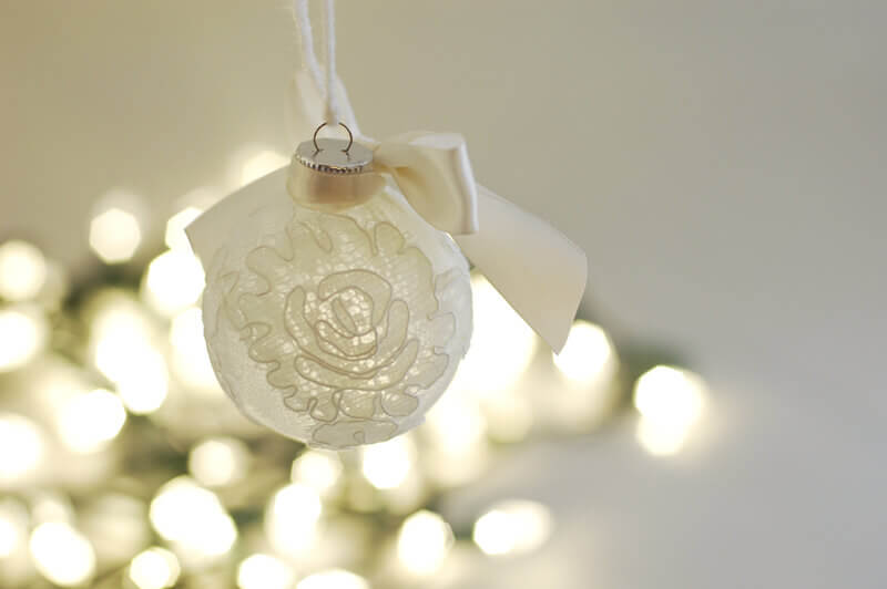Ball Keepsake Christmas Ornament made with fabric and lace from a bride's wedding veil.