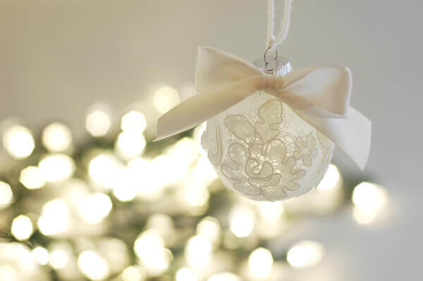 Christmas ornament made from the scrap materials of a bride's silk tulle wedding veil.