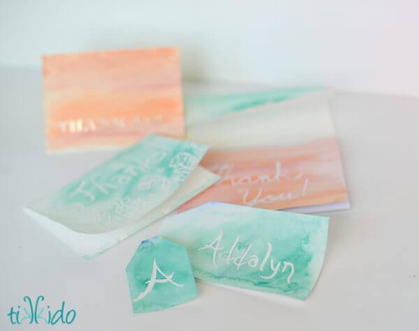 watercolor wax resist thank you cards tutorial tikkido com