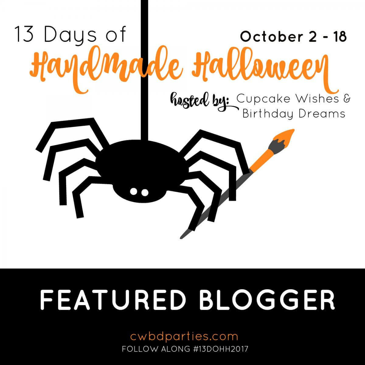Illustration of a spider with a paintbrush, and text for the 13 days of Handmade Halloween Blog Hop.
