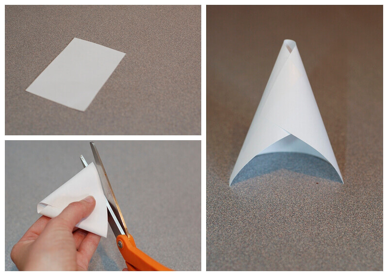 Beautiful Collage Showing A Rectangle Of White Paper Being Rolled Into Cone Shape With Making Roses