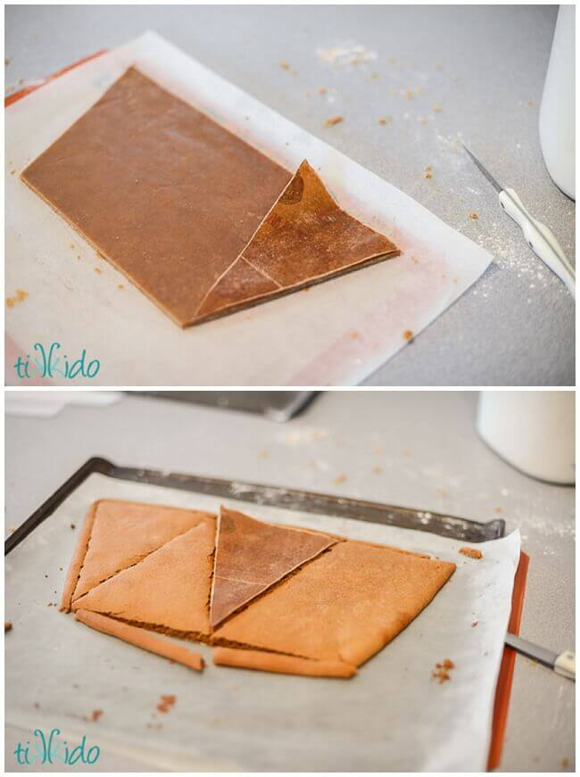 Technique for cutting sheets of cookie into smaller cookeis