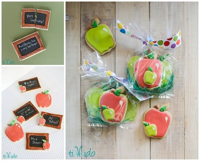 Back to school sugar cookies that look like apples and chalkboards.