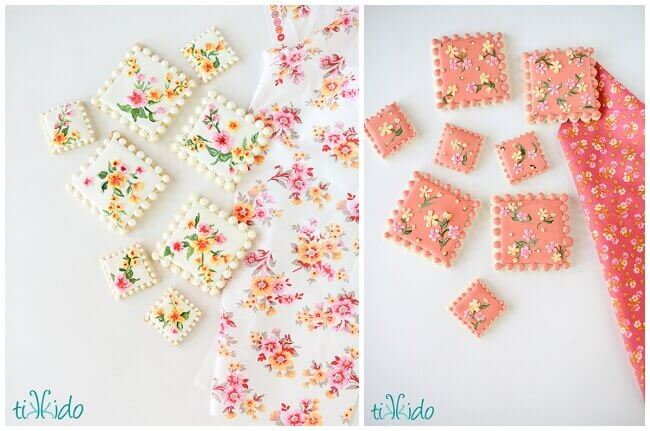 Hand-painted sugar cookies inspired by calico fabric.