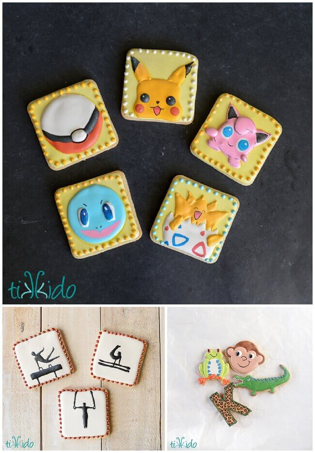 Collage of sugar cookies decorated with royal icing.
