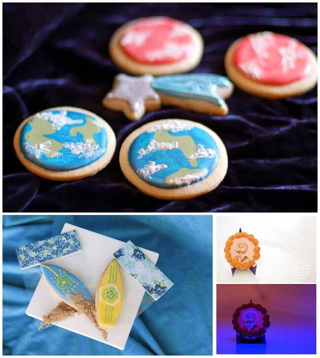 Collage of sugar cookies made with a cut out sugar cookie recipe.