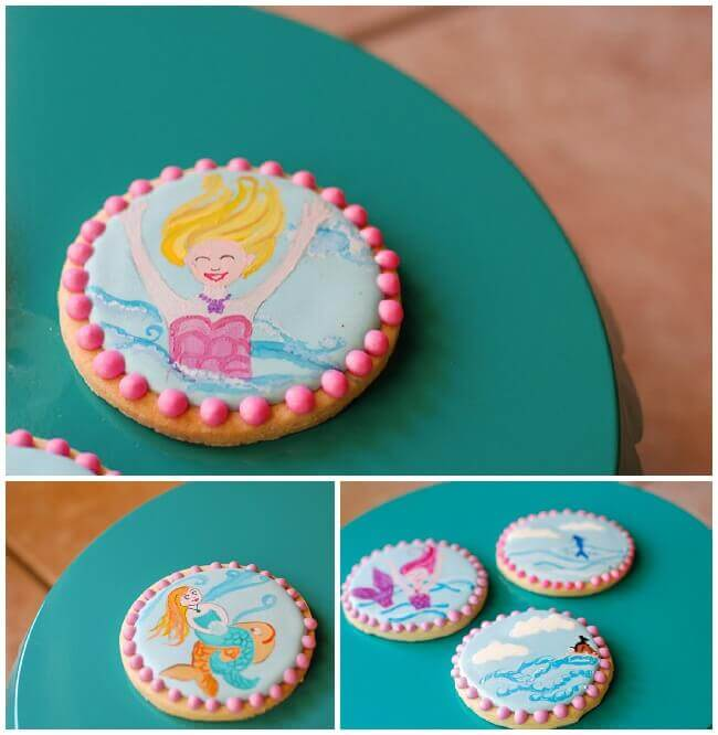 Collage of mermaid sugar cookies decorated with royal icing.