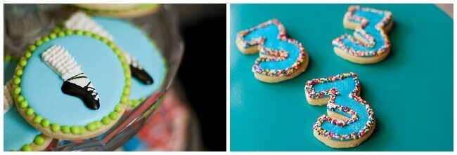 Collage of Irish dancing sugar cookies and sugar cookies that look like the number three.