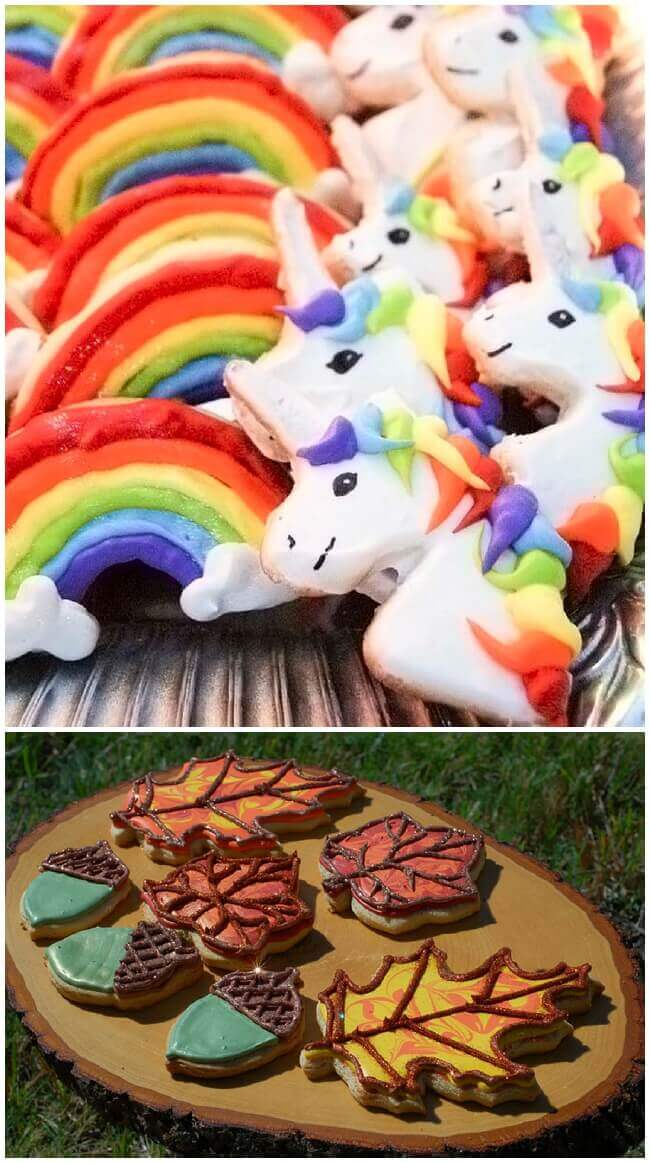Collage of rainbow unicorn and fall leaf sugar cookies decorated with royal icing.