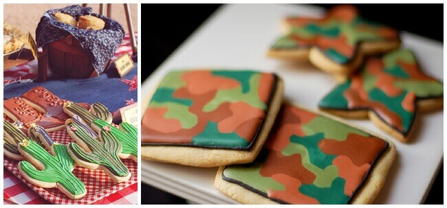 Collage of western and camouflage sugar cookies decorated with royal icing.