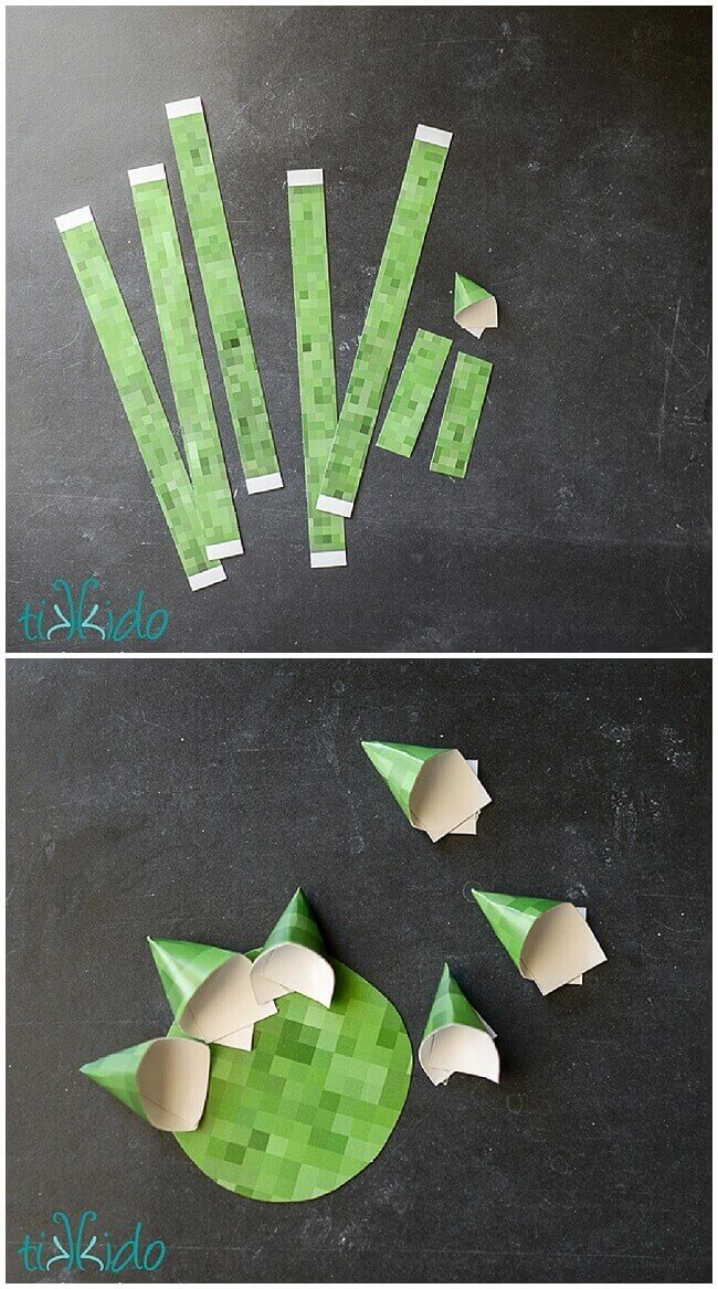 Minecraft themed gift bow made from printable minecraft paper.