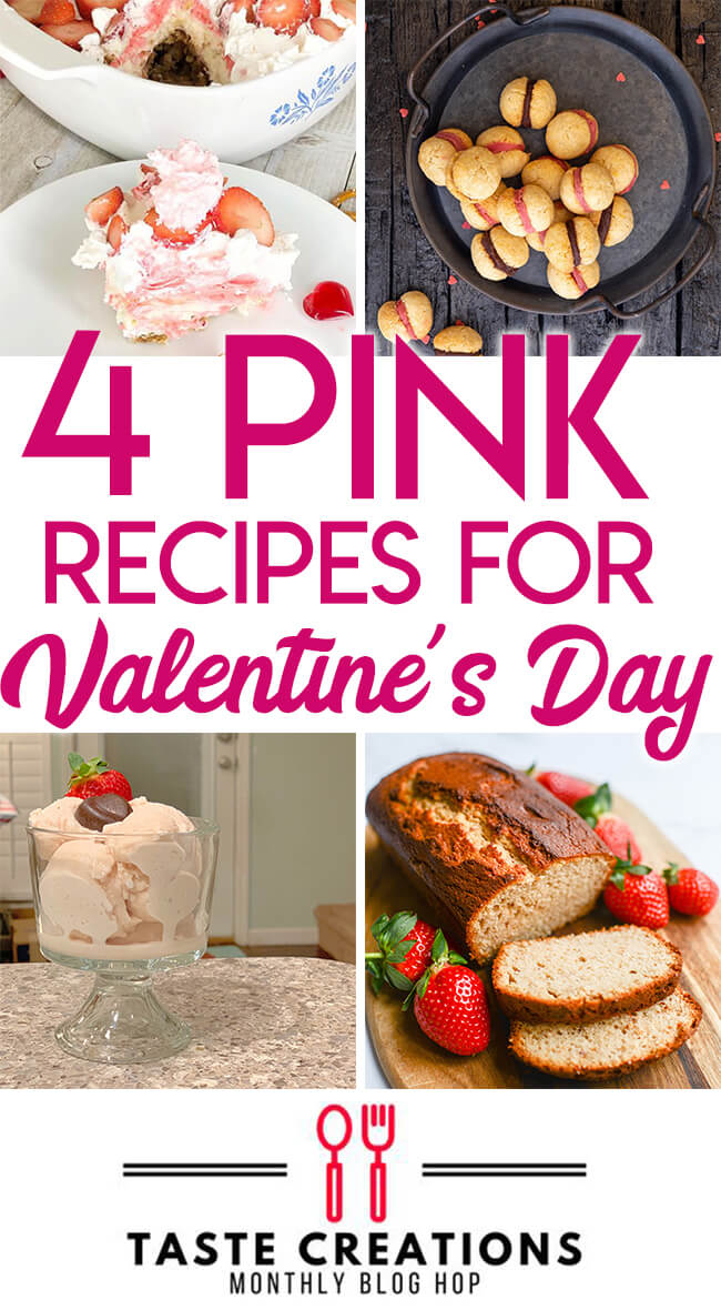 "Collage of pink food with text overlay reading ""Four Pink Recipes for Valentine's Day."""