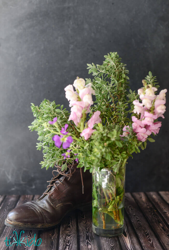 Unconventional Equestrian Floral Arrangement In A Riding Boot