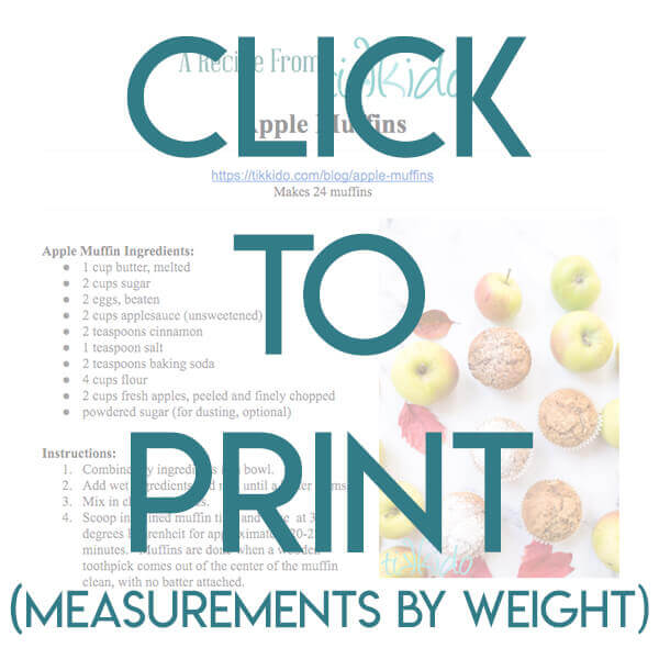 Navigational image leading reader to printable, one page apple muffins recipe by weight.