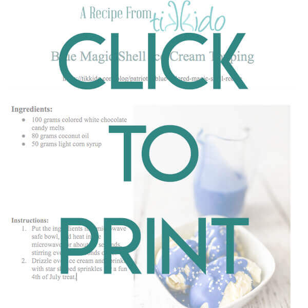 Free Printable One Page Version Of The Blue Magic Shell Ice Cream Topping Recipe
