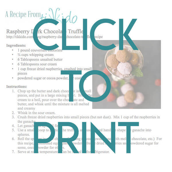 Navigational image leading reader to one page, printable version of the raspberry chocolate truffle recipe