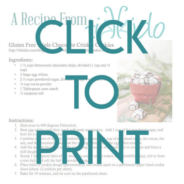 Navigational image leading reader to printable, one page version of the gluten free chocolate crinkle cookie recipe