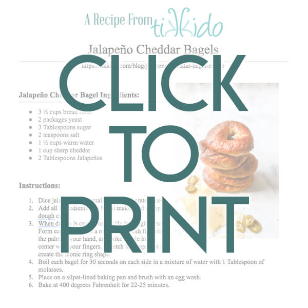 Navigational image leading reader to printable, one page Jalapeno Cheddar Bagel Recipe.