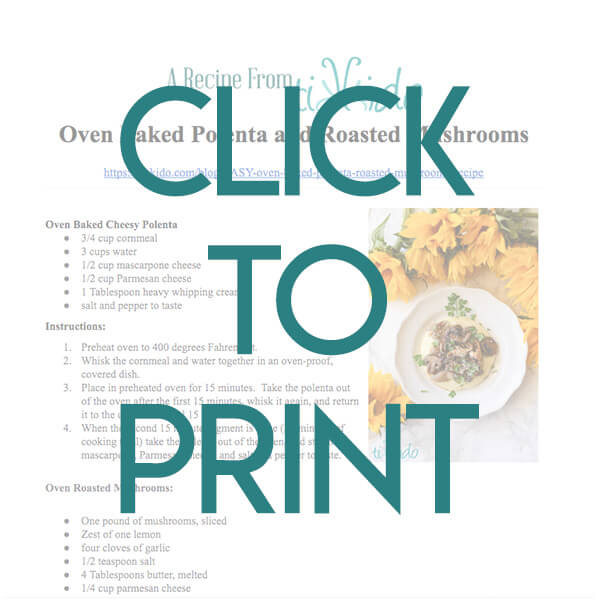 Navigational image leading reader to printable, one page oven baked polenta recipe.