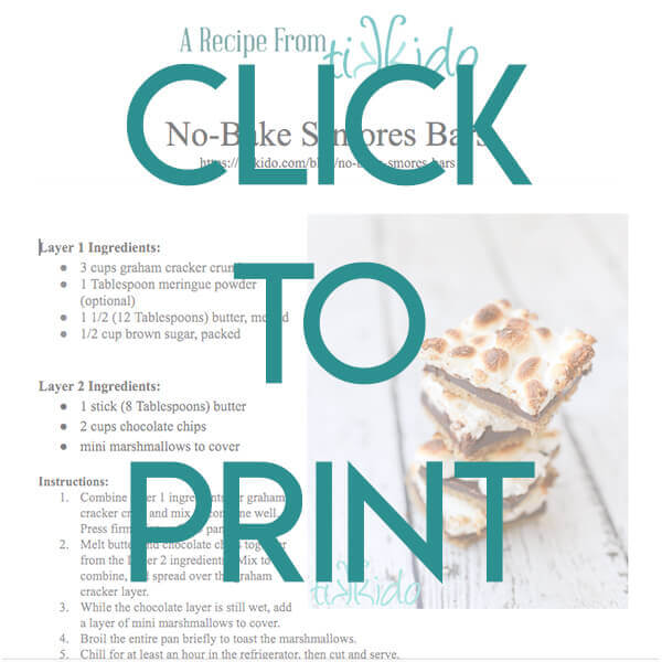 navigational image leading reader to printable, one page version of the no bake smores bars recipe