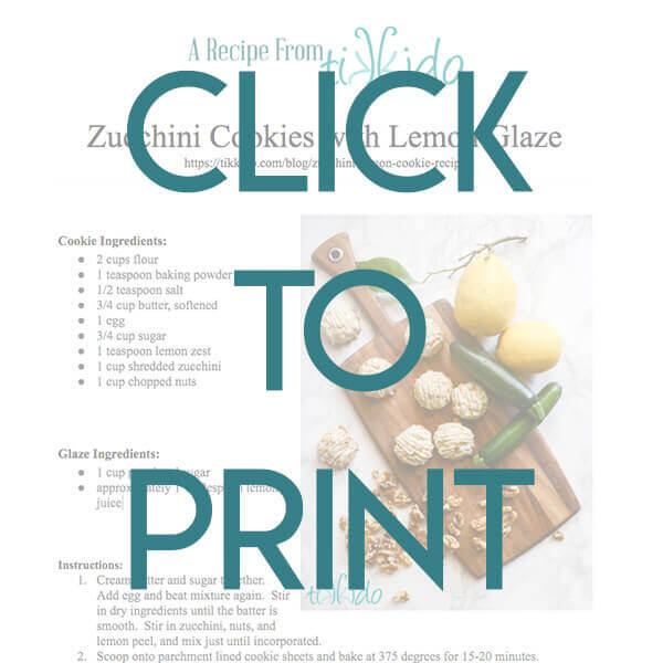 Navigational image leading reader to printable, one page version of the zucchini cookie recipe