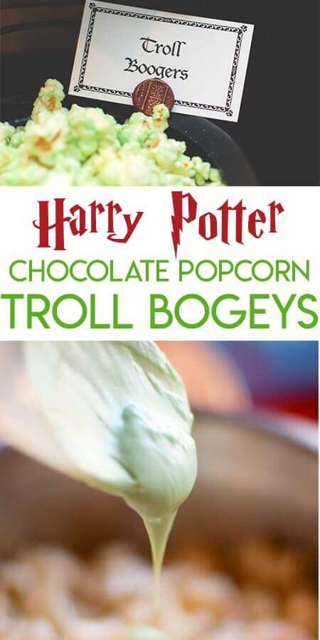 Collage of Harry Potter Troll Bogey chocolate covered popcorn pictures optimized for Pinterest