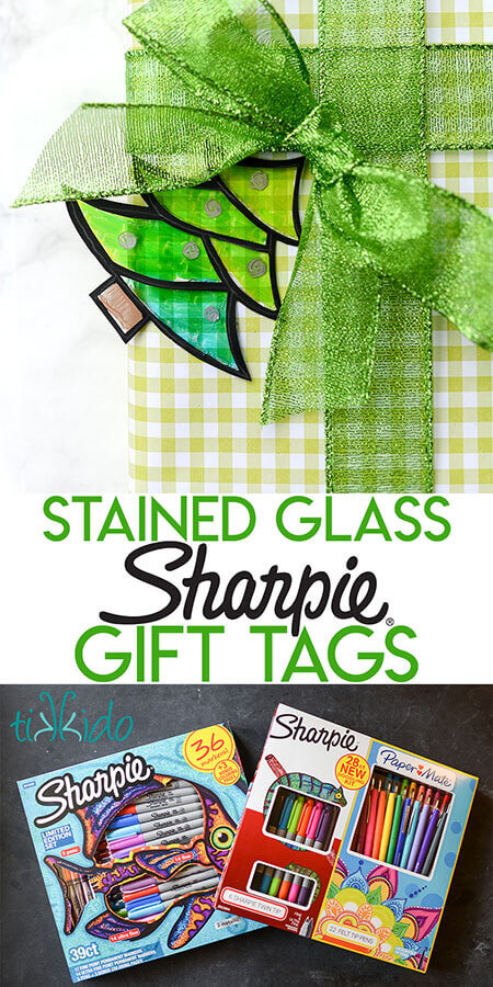 Collage of stained glass gift tags optimized for Pinterest