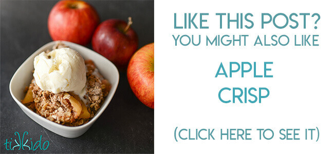 Navigational image leading reader to recipe for apple crisp