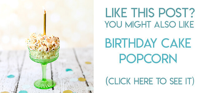 Navigational image leading reader to recipe for birthday cake popcorn with sprinkles.