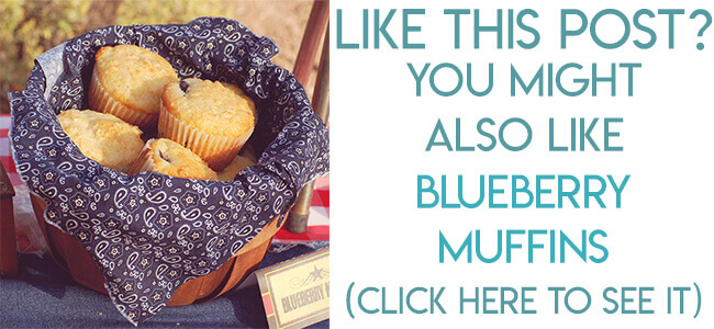 Navigational image leading reader to blueberry muffins recipe