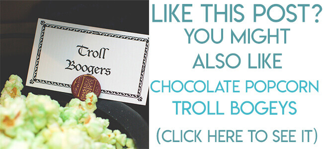 Navigational image leading readers to tutorial for making green chocolate popcorn Troll bogeys for a Harry Potter party.