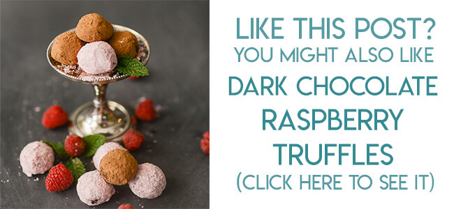 Navigational image leading reader to recipe for dark chocolate raspberry truffles.
