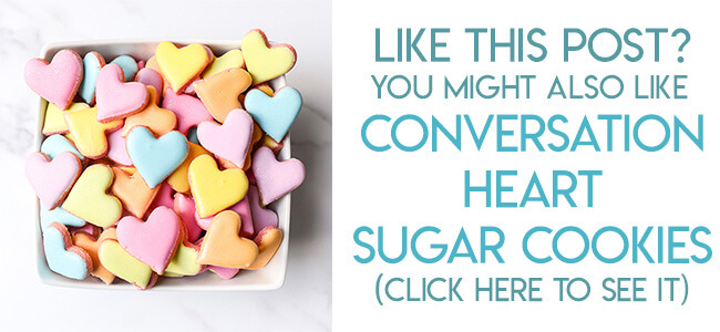 navigational image leading reader to conversation heart sugar cookies.