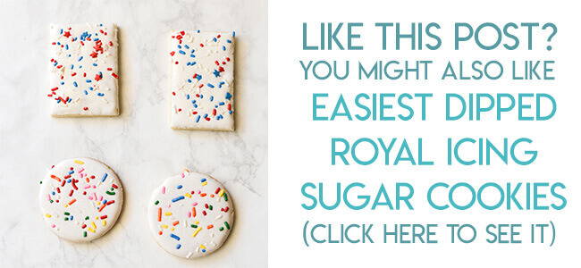 Navigational image leading reader to easy decorated sugar cookies with royal icing and sprinkles.