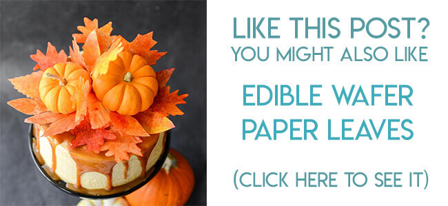 Navigational image leading reader to tutorial for making edible fall leaves out of wafer paper for cake decorating