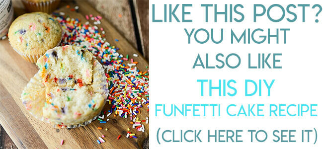 Navigational image leading reader to homemade funfetti cake recipe made with sprinkles.