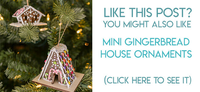 Navigational image leading reader to miniature gingerbread house Christmas ornament tutorial.