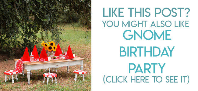 Navigational image leading reader to Gnome birthday party ideas