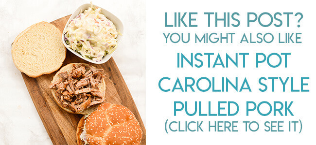 Navigational image leading reader to Instant Pot Carolina Style Pulled Pork Recipe
